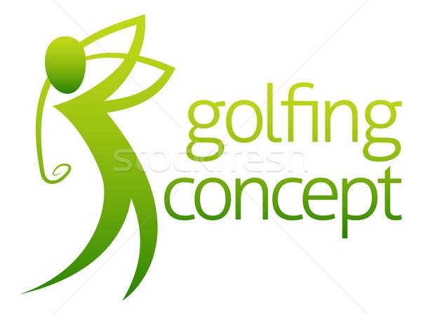 Abstract golfer illustratie golfen man ontwerp Stockfoto © Krisdog
