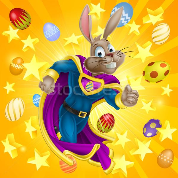 Húsvéti nyuszi szuperhős aranyos rajz karakter fut Stock fotó © Krisdog