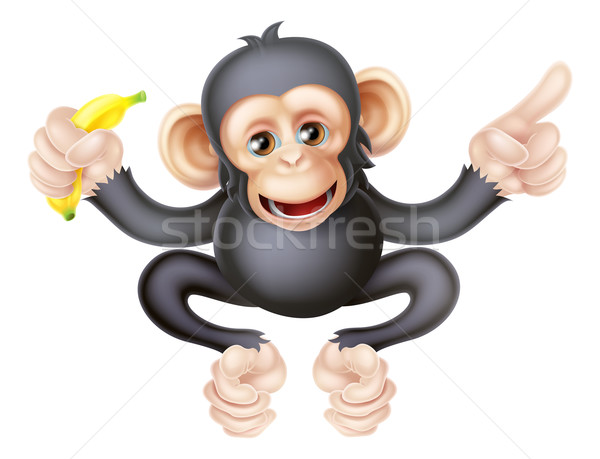 Cartoon Chimp with Banana Pointing Stock photo © Krisdog