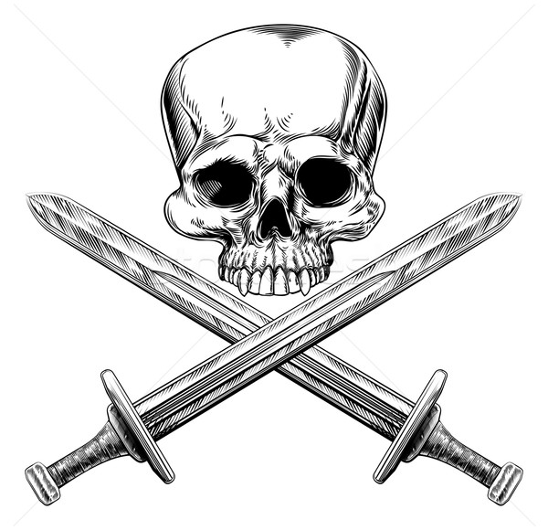 Skull and Cross Swords Stock photo © Krisdog