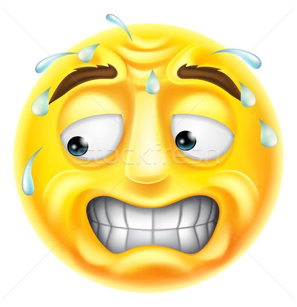 Ijedt emotikon aggódó megszégyenített néz karakter Stock fotó © Krisdog