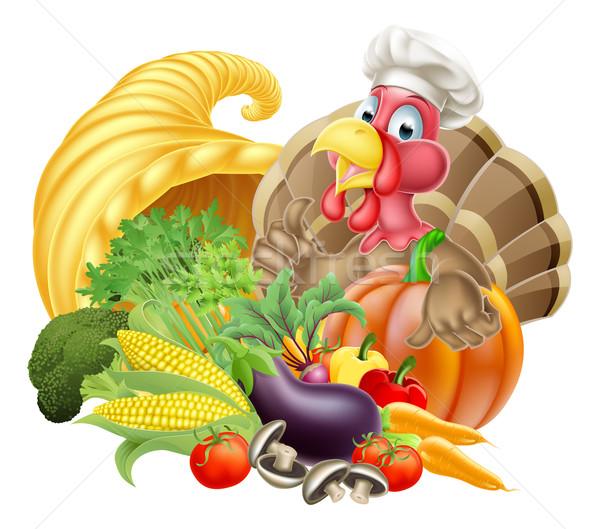Törökország szakács sapka bőségszaru hálaadás rajz madár Stock fotó © Krisdog