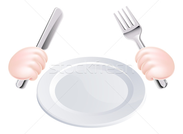 Hands Knife and Fork with Plate Stock photo © Krisdog