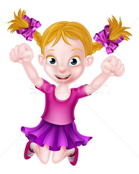 Happy Cartoon Girl Jumping Stock photo © Krisdog