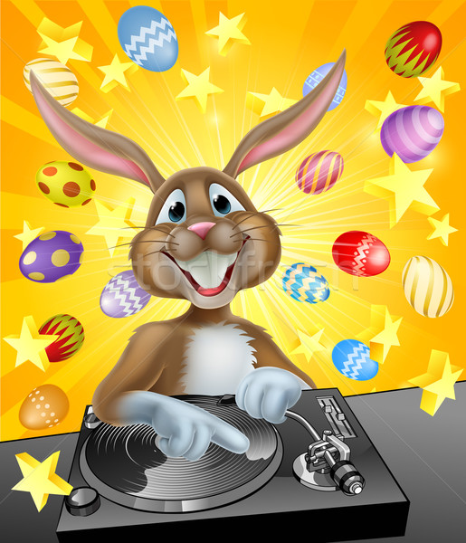 Easter Bunny DJ With Eggs and Stars Stock photo © Krisdog