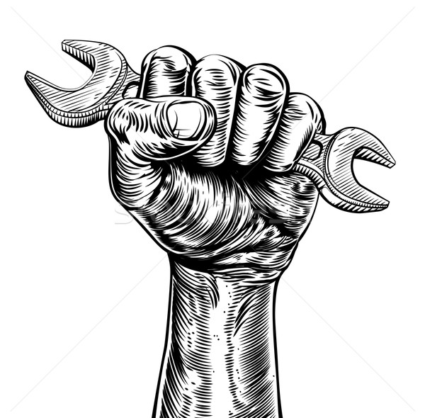 Propaganda Woodcut Fist Hand Holding Spanner Stock photo © Krisdog