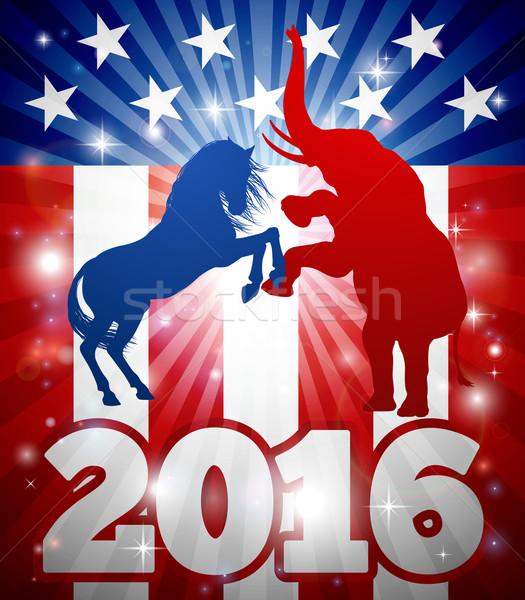 Amerikan seçim hayvan 2016 siyasi dizayn Stok fotoğraf © Krisdog