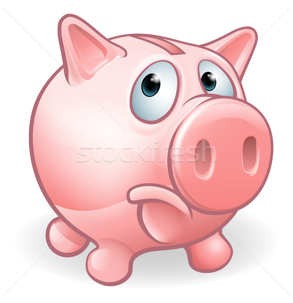 Triest cartoon spaarvarken karakter vak varken Stockfoto © Krisdog