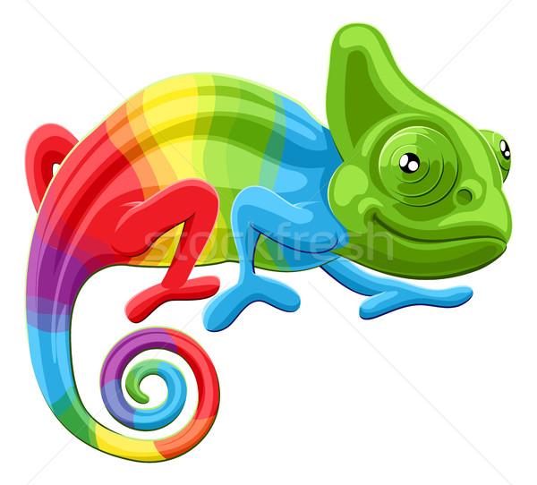 arco íris camaleão desenho animado multicolorido lagarto