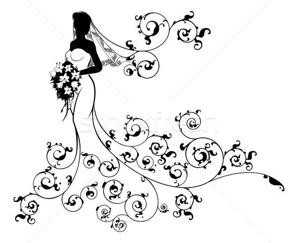 Bride Bouquet Wedding Silhouette Concept Stock photo © Krisdog