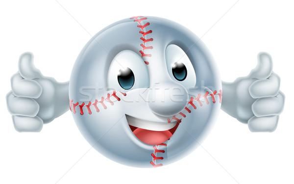 Beysbol beysbole benzer top oyunu top adam karakter mutlu Stok fotoğraf © Krisdog