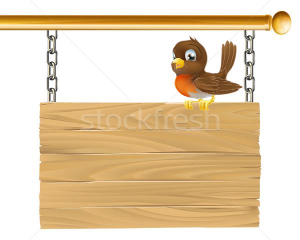 Bird hanging wooden sign Stock photo © Krisdog