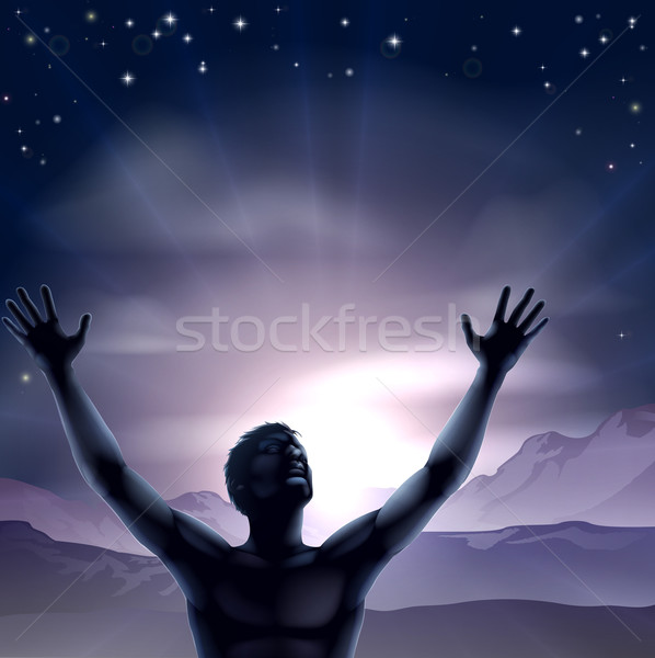 Férfi sziluett kezek nyújtott felfelé karok Stock fotó © Krisdog