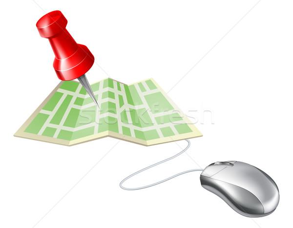 Harita pin bilgisayar fare ikon bilgisayar Internet Stok fotoğraf © Krisdog
