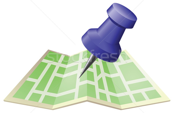 Illustration of a street map with drawing push pin Stock photo © Krisdog