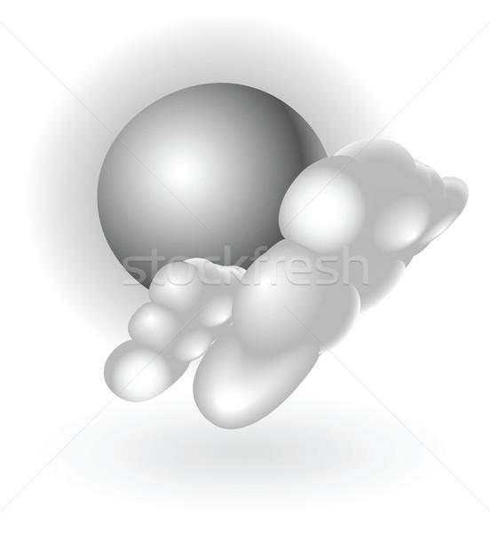 Stock fotó: Ezüst · fémes · időjárás · ikon · illusztráció · felhők