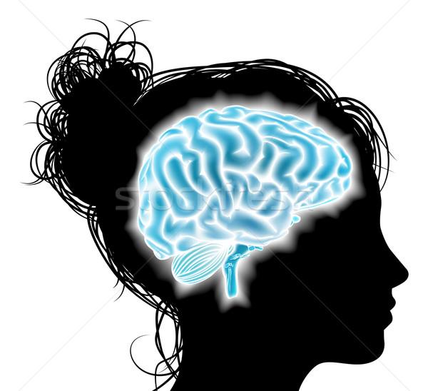 Nő izzó agy fej sziluett szellemi Stock fotó © Krisdog