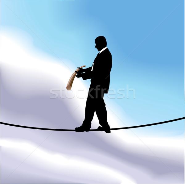 туго натянутый канат бизнеса иллюстрация деловой человек ходьбе высокий Сток-фото © Krisdog