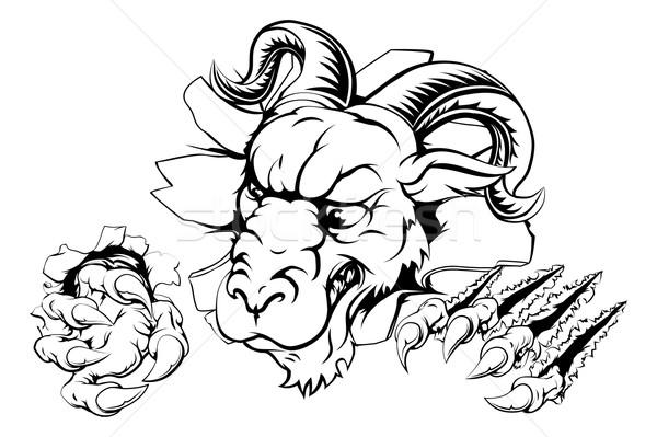Griffe percée effrayant mascotte forte Photo stock © Krisdog