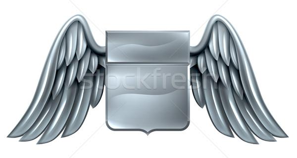 Plata escudo desplazamiento diseno acero metal Foto stock © Krisdog