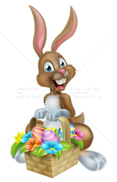 Cartoon Easter Bunny Rabbit with Eggs Basket Stock photo © Krisdog