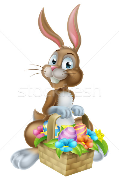 Easter Bunny Rabbit with Eggs Hamper Basket Stock photo © Krisdog