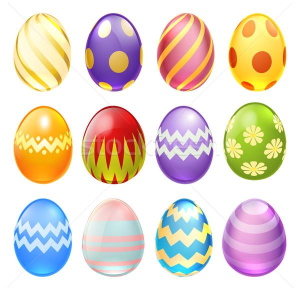 Ovos De Pascoa Conjunto Colorido Decorado Chocolate