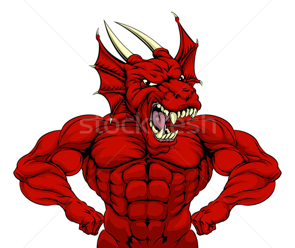 Mean Red Dragon Mascot Stock photo © Krisdog