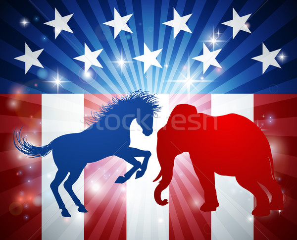 Elephant Fighting Jackass Donkey Election Concept Stock photo © Krisdog