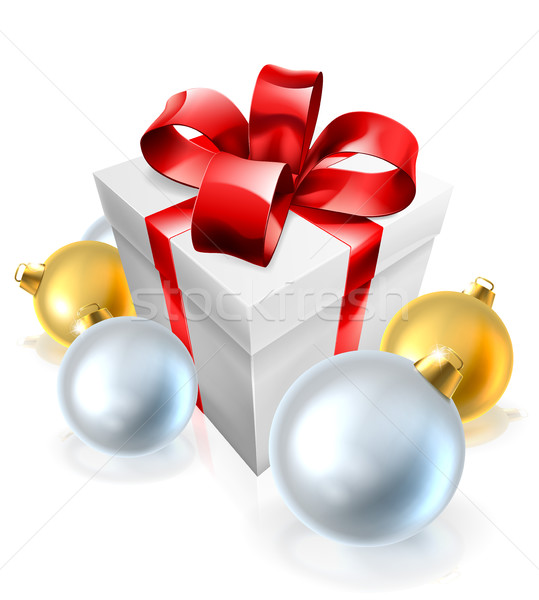 Christmas Gift or Present and Tree Baubles Stock photo © Krisdog