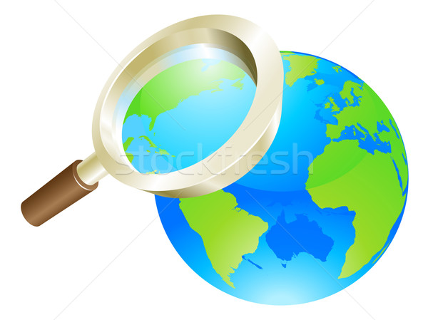 Magnifying glass world earth globe concept Stock photo © Krisdog