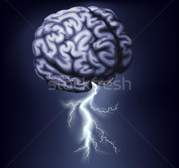 Foto d'archivio: Cervello · tempesta · illustrazione · fulmini · fuori · abstract