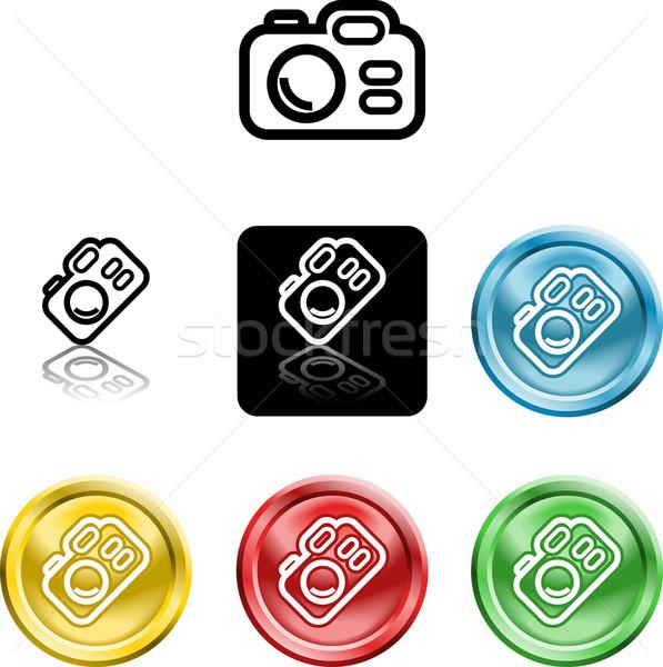 Câmera ícone símbolo vários computador azul Foto stock © Krisdog