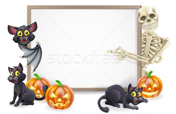 Halloween Sign with Skeleton and Bat Stock photo © Krisdog