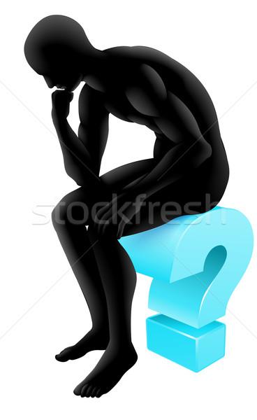 мышления вопросительный знак силуэта человека икона мыслитель Сток-фото © Krisdog
