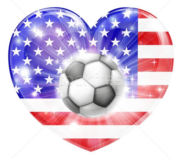 American soccer heart flag Stock photo © Krisdog