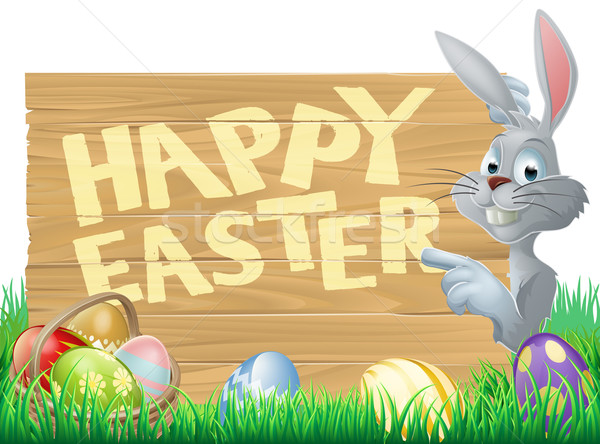 Easter bunny and eggs sign Stock photo © Krisdog