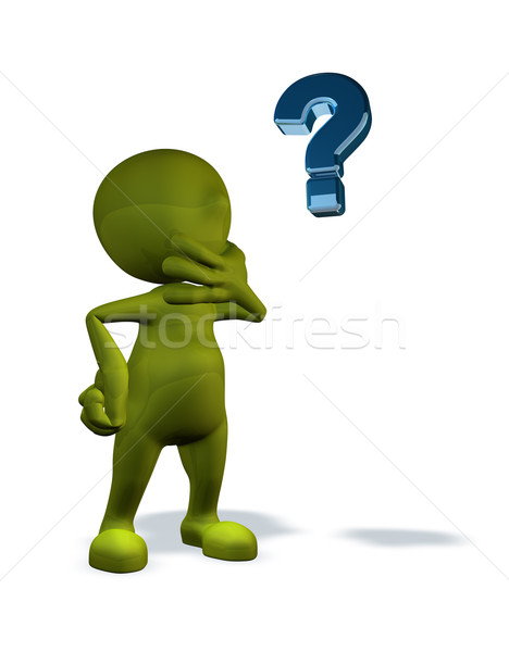 Stock photo: 3d rendered character with question mark