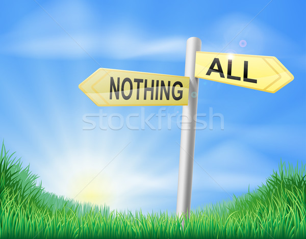 All or nothing sign in field Stock photo © Krisdog
