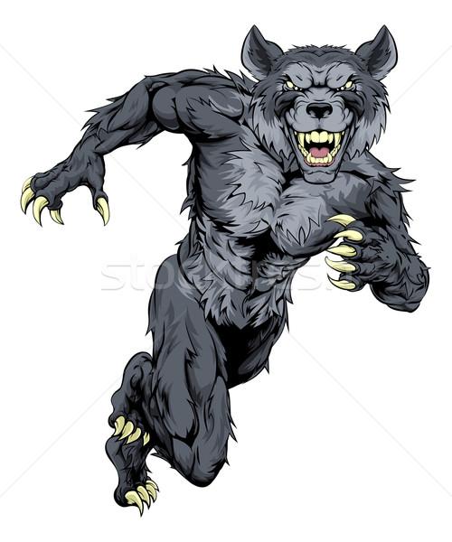 работает волка талисман иллюстрация животного спортивных Сток-фото © Krisdog