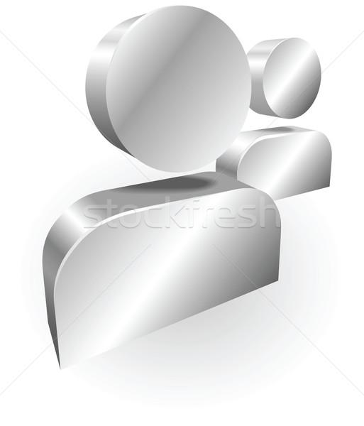Stockfoto: Zilver · mensen · icon · illustratie · iconen · gebruikt
