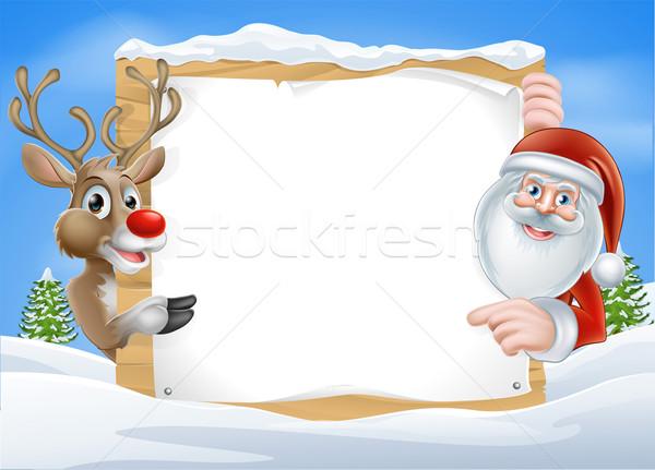 Stock photo: Christmas Reindeer and Santa Sign