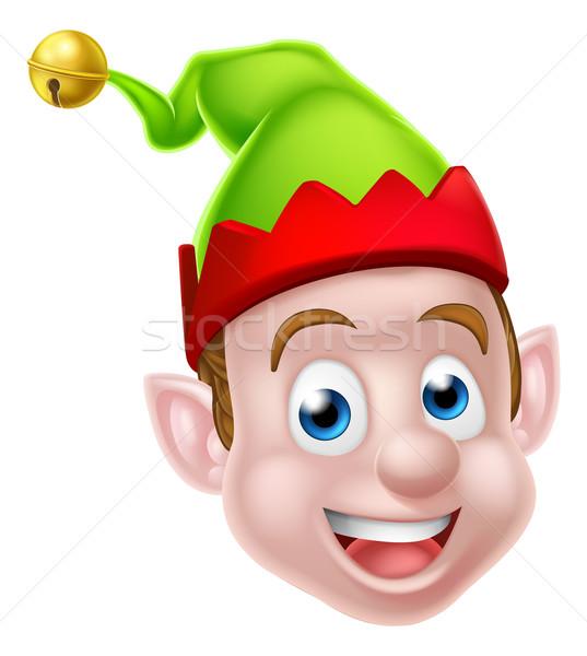 Cartoon christmas elf gezicht een Stockfoto © Krisdog