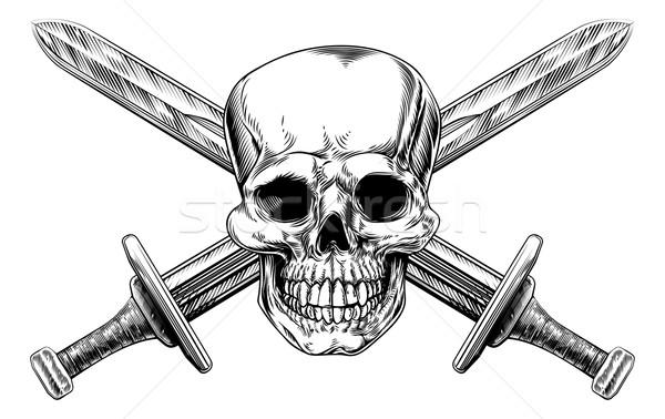 Skull Cross Swords Stock photo © Krisdog