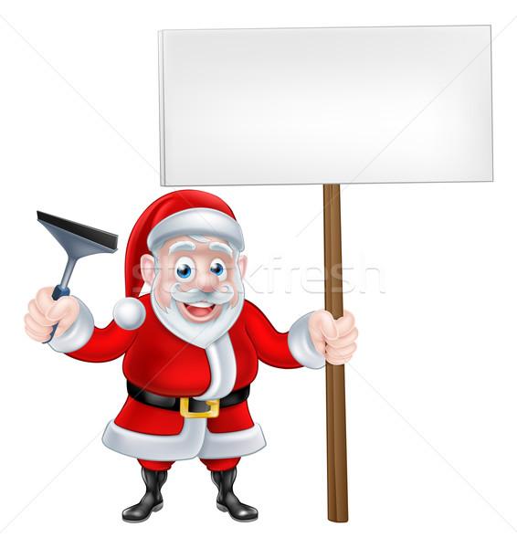 Cartoon Santa Holding Squeegee and Sign Stock photo © Krisdog