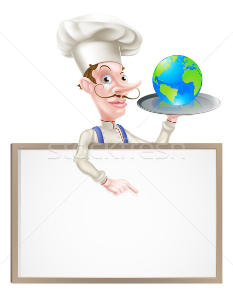 Világ földgömb szakács felirat illusztráció rajz Stock fotó © Krisdog