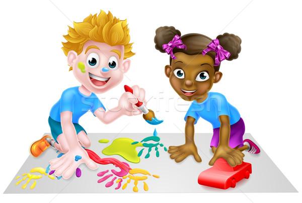Stockfoto: Jongen · meisje · kinderen · spelen · cartoon · spelen · speelgoed