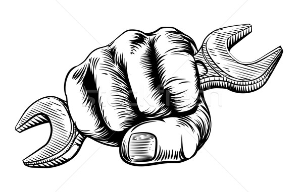 Spanner Woodcut Fist Hand Stock photo © Krisdog