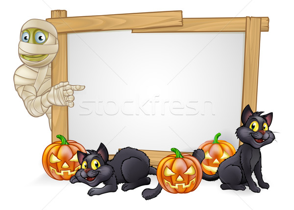 Cartoon Halloween Mummy Sign Stock photo © Krisdog