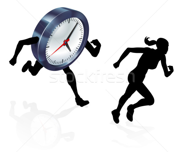 Courir horloge stress pression silhouette femme Photo stock © Krisdog